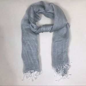 J.Crew Lightweight Blue/Gray/Silver Fringed Ends